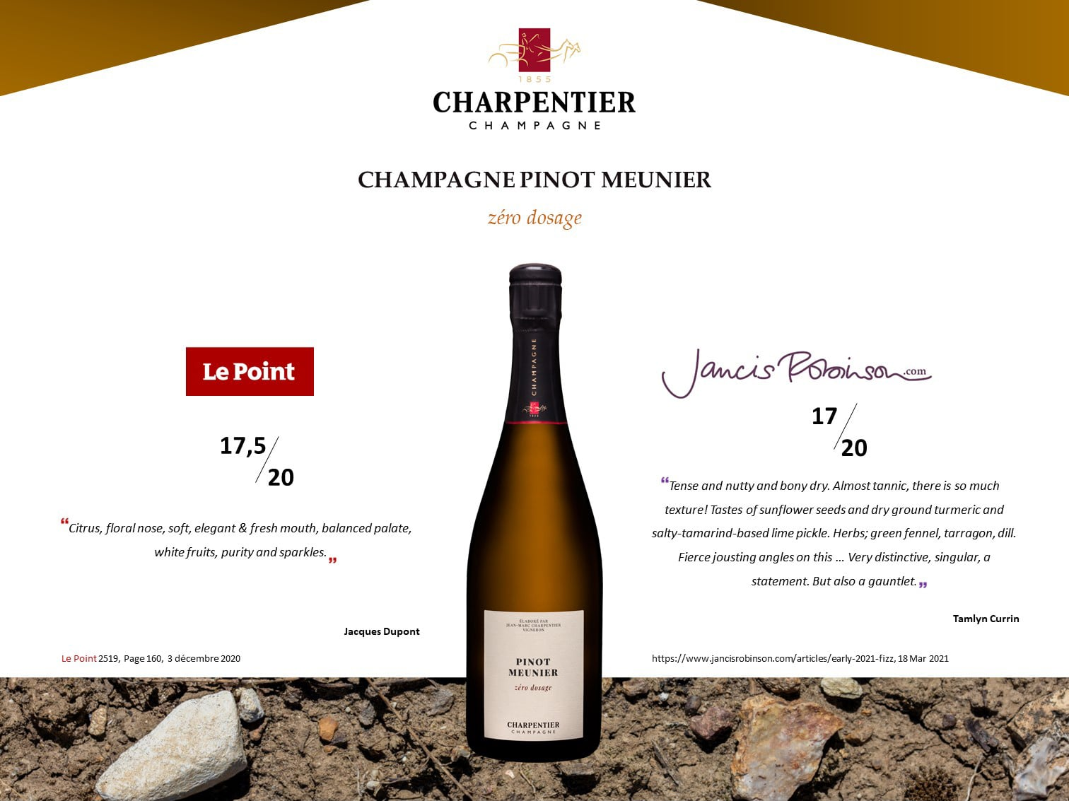 Champagne-CHARPENTIER-Charly-Sur-Marne-Pinot-Meunier-zero-dosage-Press-articles-J.-Dupont-et-J.-Robinson